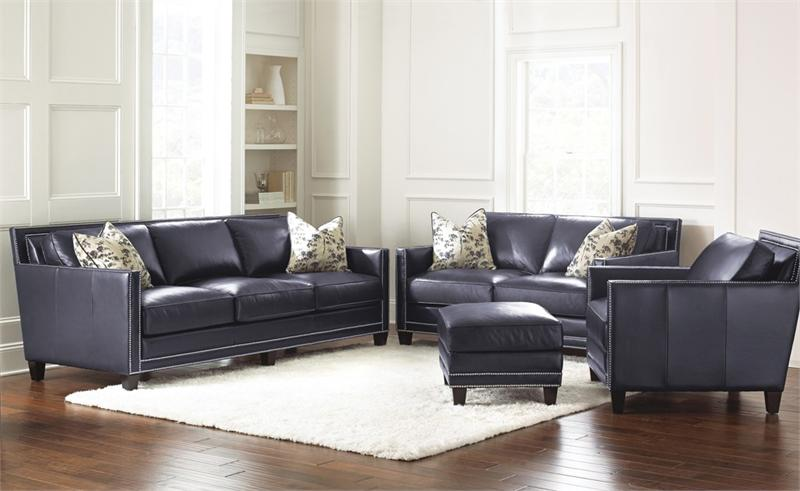 Hendrix Navy Blue Leather Sofa By Steve Silver