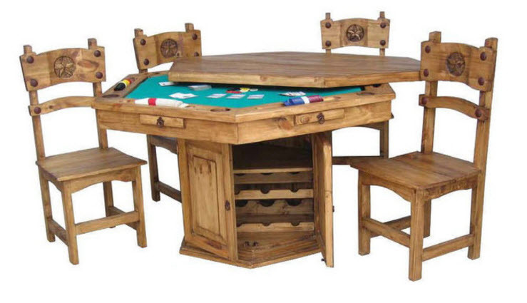 Rustic Texas Star Poker Dining Table