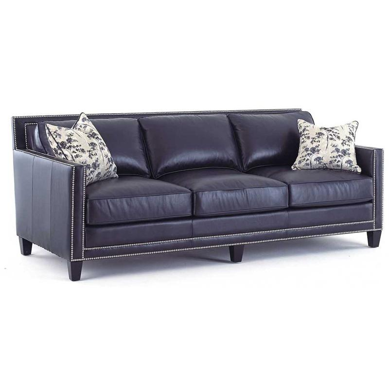 Hendrix navy blue leather sofa by steve silver for Blue leather sofa